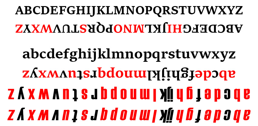 upside down alphabet